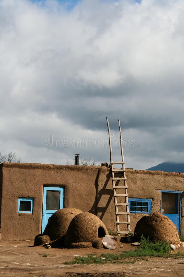 Taos Pueblo in New Mexico, USA. View at Taos Pueblo in New Mexico, USA stock photo