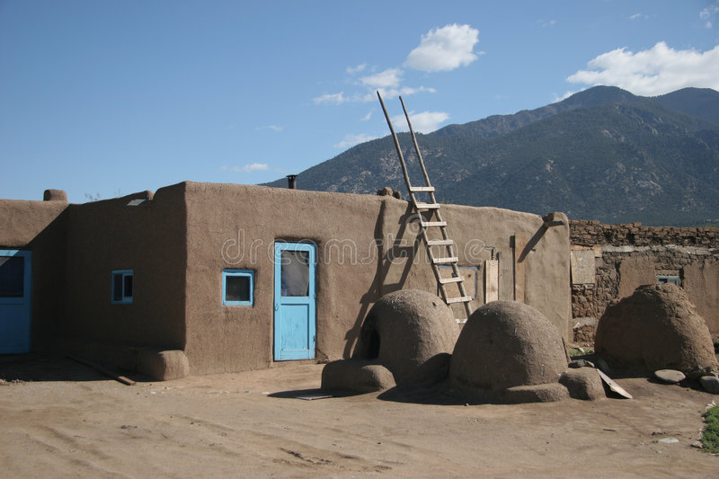 Taos Pueblo village. Adobe house in Taos Pueblo, New Mexico. Historical house in an historical village. Historical way off house building stock images