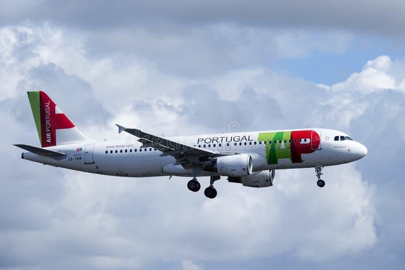 TAP Air Portugal, Airbus A320 - 251N. Arlanda, Stockholm, Sweden - April 27, 2018: TAP Air Portugal, Airbus A320-251N fly by and landing at Stockholm Arlanda royalty free stock photos