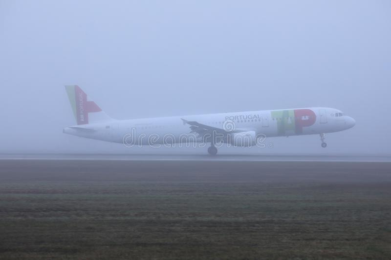 TAP Air Portugal plane doing taxi on runway. TAP Air Portugal airplane takes off from airport royalty free stock photo