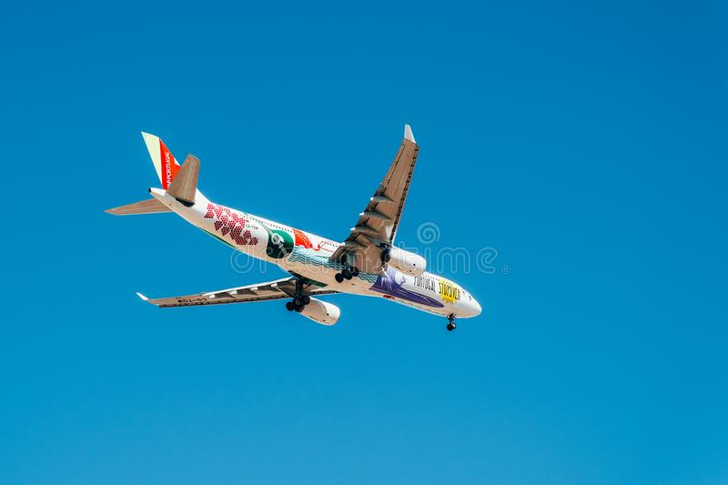 Tap Air Portugal Passenger Airplane Take Off From Humberto Delgado Airport In Lisbon City. LISBON, PORTUGAL - AUGUST 14, 2017: Tap Air Portugal Passenger stock photography