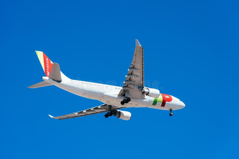 Tap Air Portugal Passenger Airplane Take Off From Humberto Delgado Airport In Lisbon City. LISBON, PORTUGAL - AUGUST 14, 2017: Tap Air Portugal Passenger royalty free stock photos