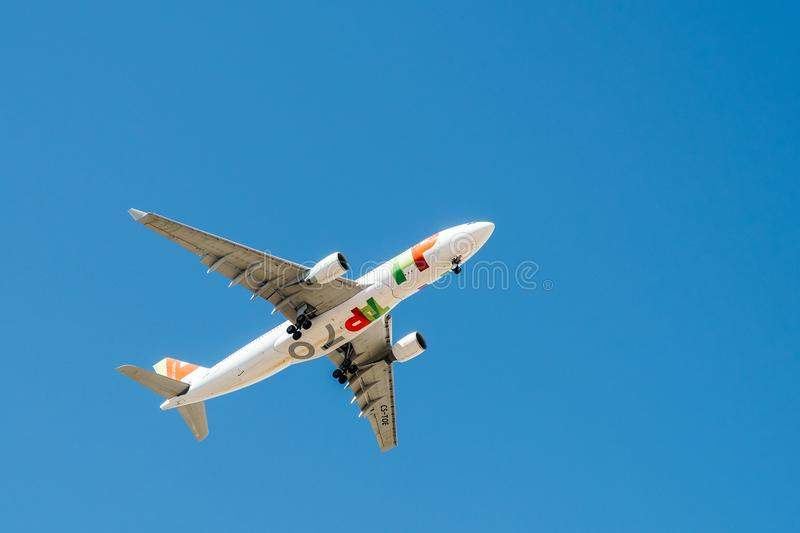 Tap Air Portugal Passenger Airplane Take Off From Humberto Delgado Airport In Lisbon City. LISBON, PORTUGAL - AUGUST 14, 2017: Tap Air Portugal Passenger stock photos