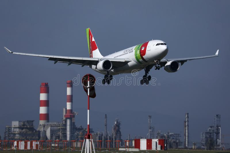 TAP Air Portugal plane flying to exotic destinations. TAP Air Portugal plane flying up in the sky, Munich Airport, MUC royalty free stock photos