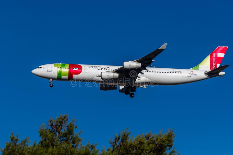 Tap Air Portugal plane. In the air over Lisbon stock images