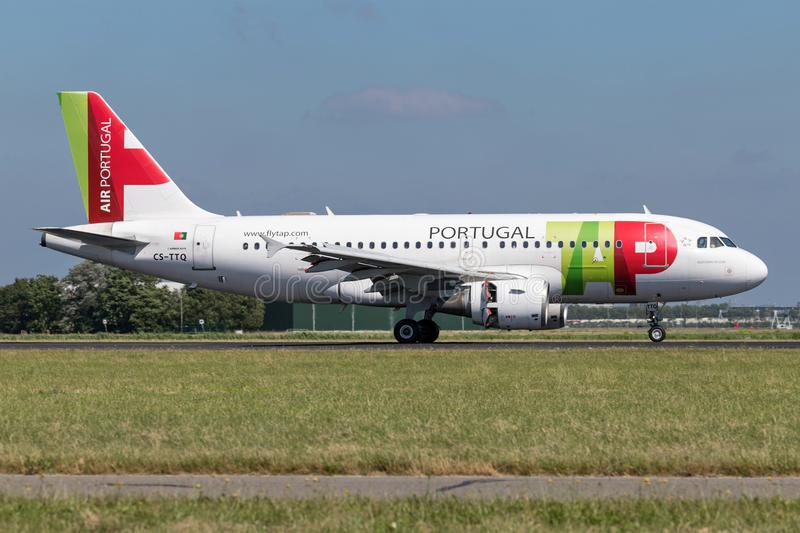 TAP Air Portugal. Airbus A319-100 with registration CS-TTQ just landed on runway 18R Polderbaan of Amsterdam Airport Schiphol royalty free stock photo