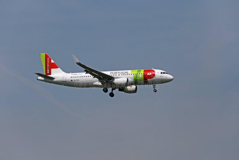 TAP Airbus A320 landing royalty free stock image