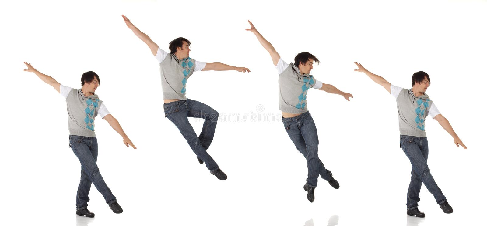 Tap dancer in blue jeans and tap shoes stock photography