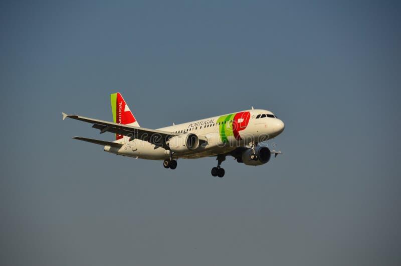 TAP - De Luchtvaartlijnenvliegtuig van Portugal stock fotografie