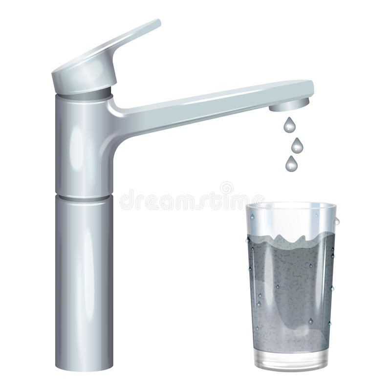 Tap with dirty water, muddy water in glass, pollution concept. royalty free illustration