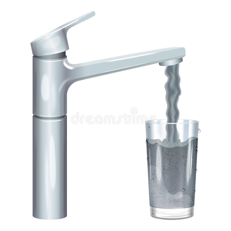 Tap with dirty water, muddy water in glass, pollution concept. vector illustration
