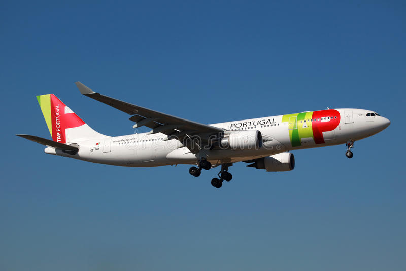 TAP Portugal Airbus A330. Lisbon, Portugal - February 25, 2012: A TAP Portugal Airbus A330 with the registration CS-TOP approaches Lisbon airport (LIS). TAP royalty free stock photography