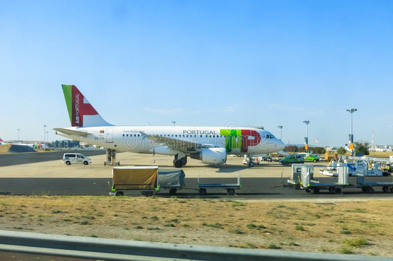 TAP Portugal Airbus A319. Airbus A319 of TAP Portugal Transportes Aéreos Portugueses parked at Lisbon international airport royalty free stock photography