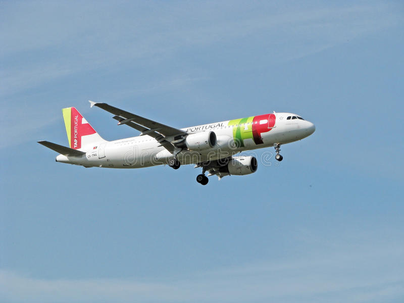 TAP Portugal Plane. Airbus a320 Tap Portugal Airline Approach at London Heathrow Airport stock photos