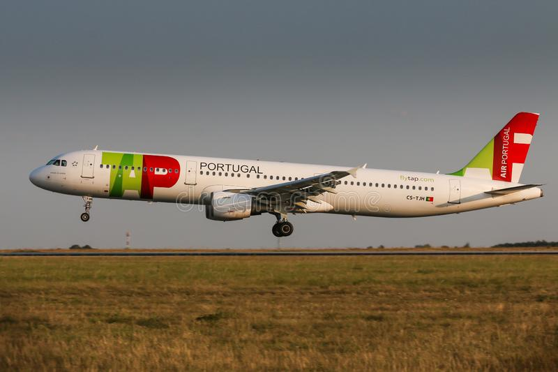 TAP Portugal. PRAGUE, CZECH REPUBLIC - AUGUST 22: Airbus A321 of TAP Portugal lands to PRG Airport in Prague on August 22, 2018.TAP Portugal is the flag carrier stock images