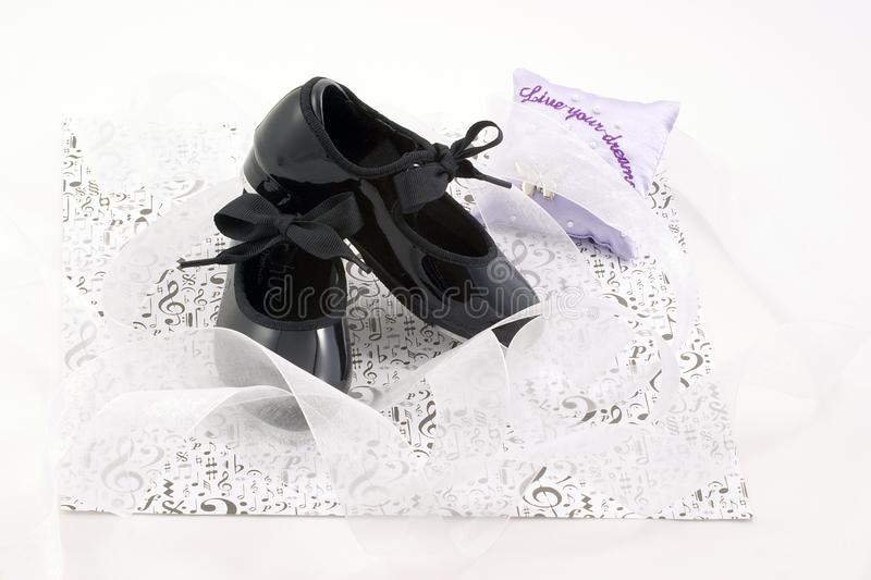 Tap shoes and ribbons stock photo