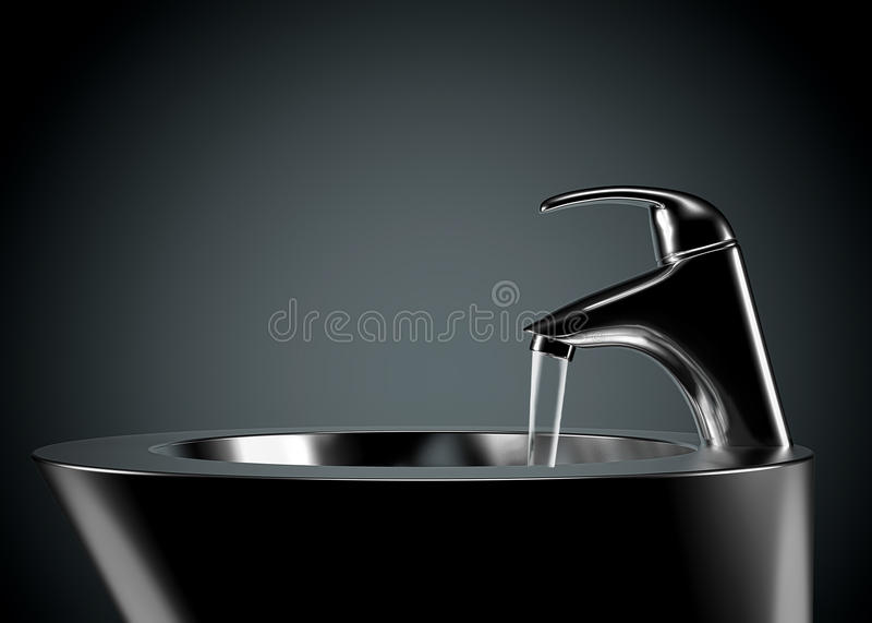 Tap and sink. Image is posed on dark background royalty free stock photography