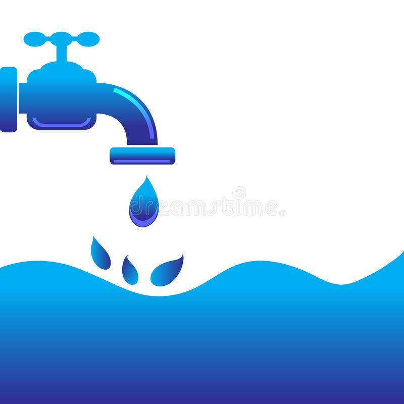Tap water with water background. Is a general illustration stock illustration