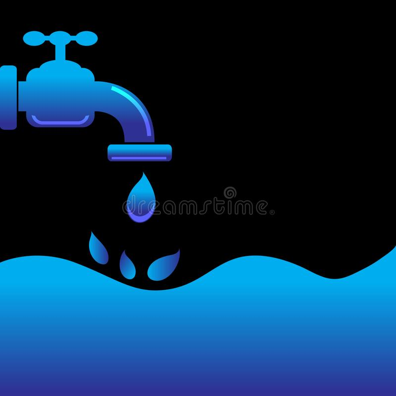 Tap water with water background. Is a general illustration vector illustration