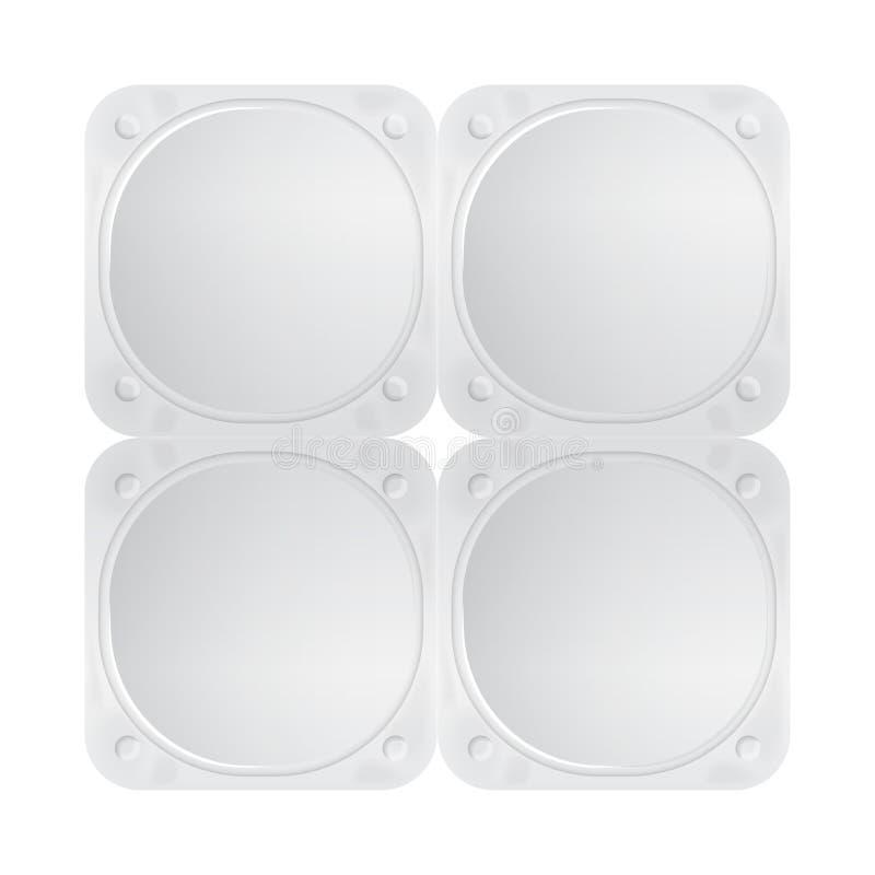 Tapa blanca de la hoja del vector para el yogur, el postre o la crema Paquete de la forma cuadrada redondeada cuatro Vista superi ilustración del vector