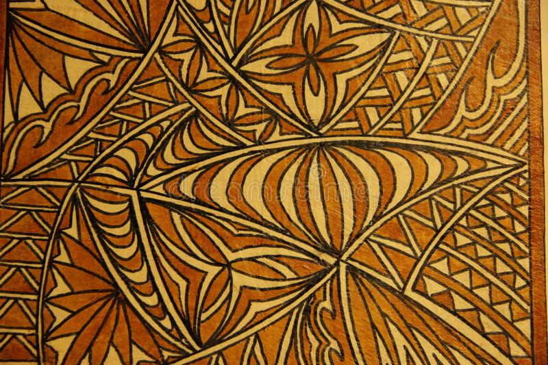 Tapa Cloth. A traditional design made on Tapa Cloth for sale at the souvenir market of Pago Pago on the island of Tutuila in American Samoa royalty free stock photography