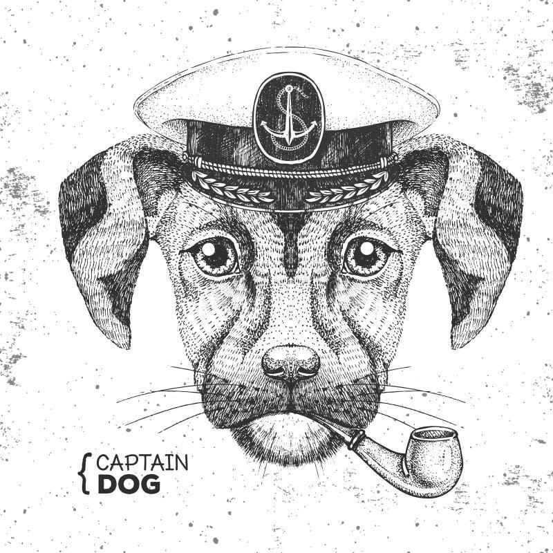 Tapa del capitán de un animal hipster y tubo de fumar. Dibujo manual Lápiz de perro libre illustration
