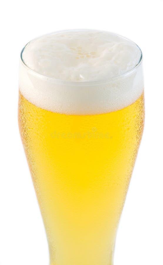 Tapa del vidrio de cerveza con espuma fotografía de archivo libre de regalías
