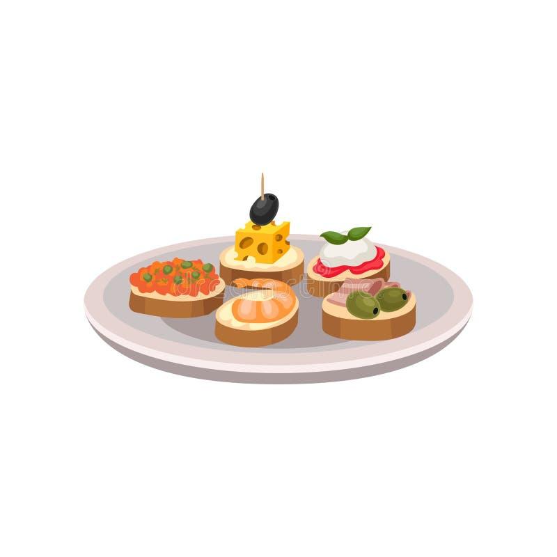 Tapas deliciosos com ingredientes diferentes Petiscos espanhóis tradicionais na placa Vetor liso para anunciar o cartaz ilustração stock