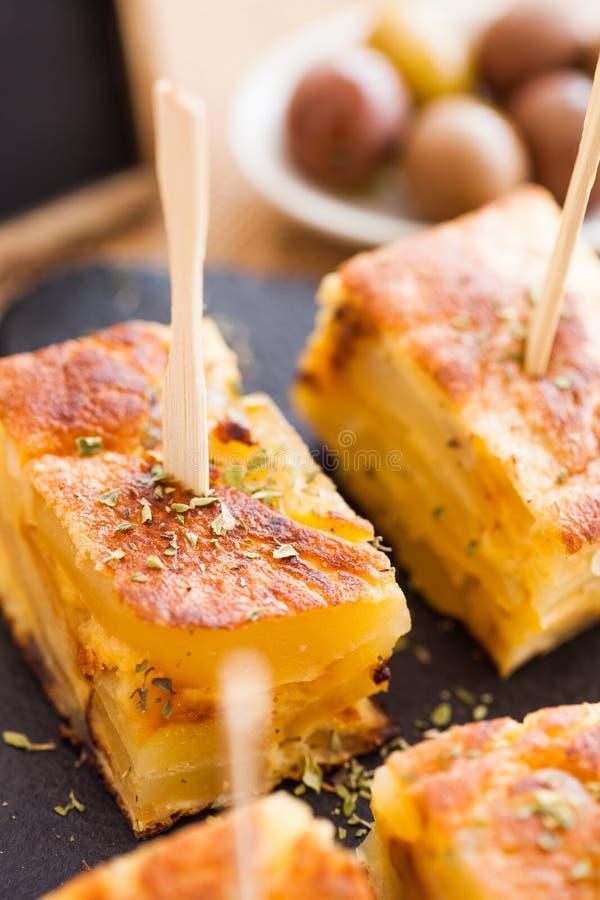 Tapas för spansk omelett arkivbilder