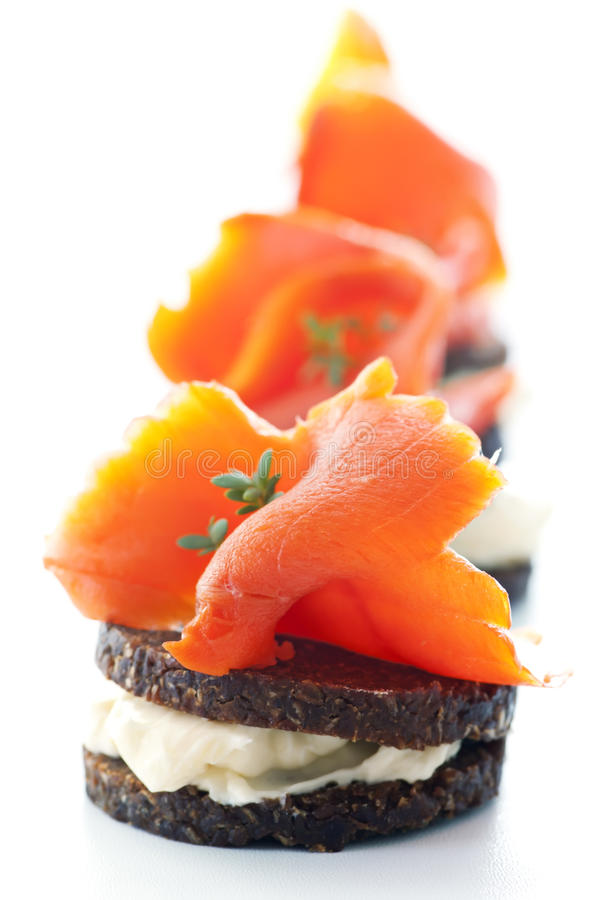 Tapas iwth salmon. Tapas with salmon and bread slices stock image