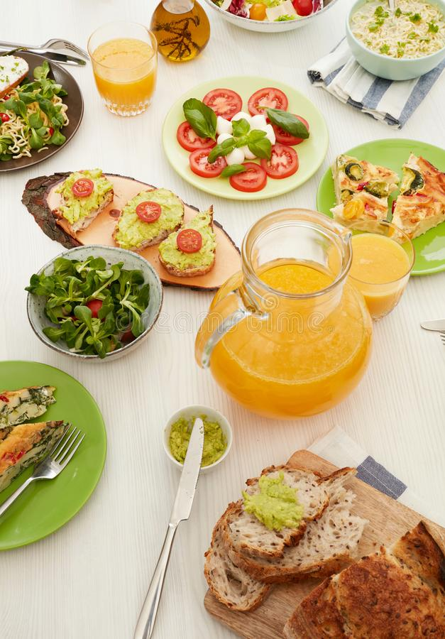 Tapas, juice and salad royalty free stock photo