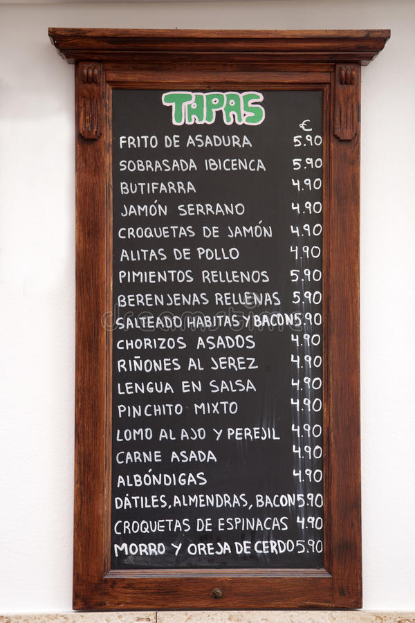 Tapas menu, Hiszpania obrazy stock