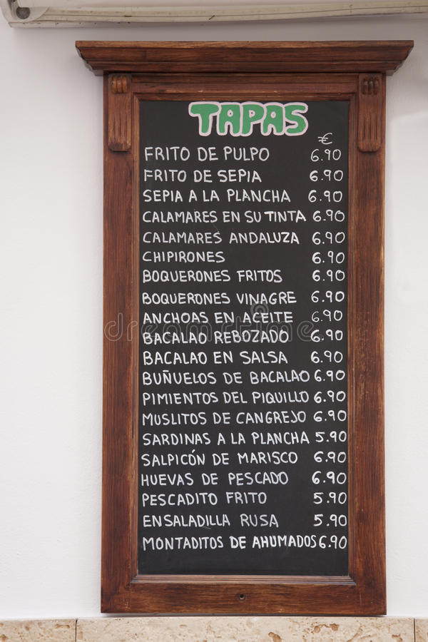 Tapas menu, Hiszpania zdjęcie royalty free