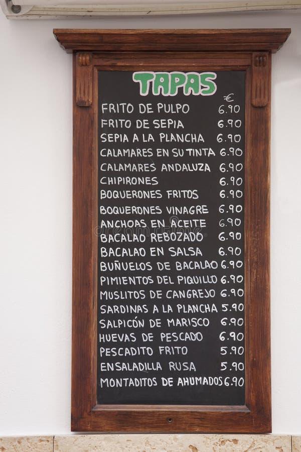 Tapas Menus, Spagna fotografia stock libera da diritti