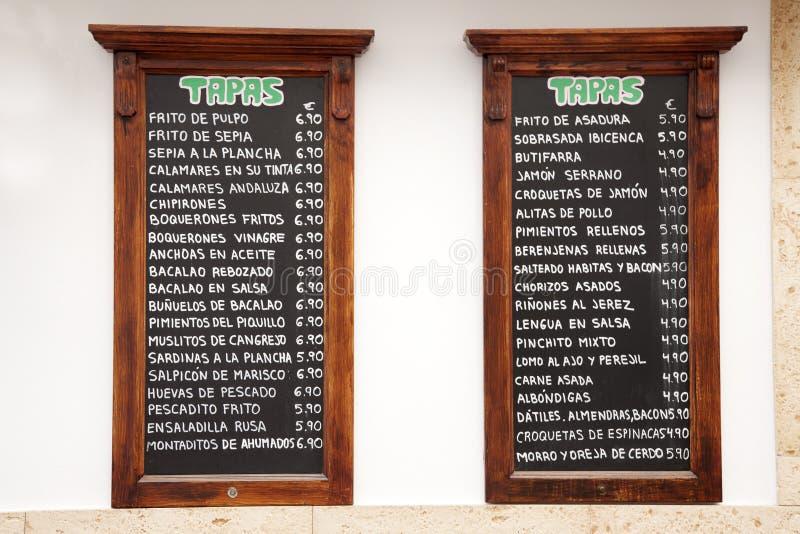 Tapas Menus, Spanje stock afbeelding