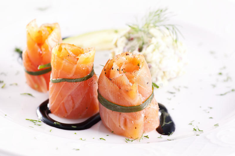 Tapas mit Salmon royalty free stock images