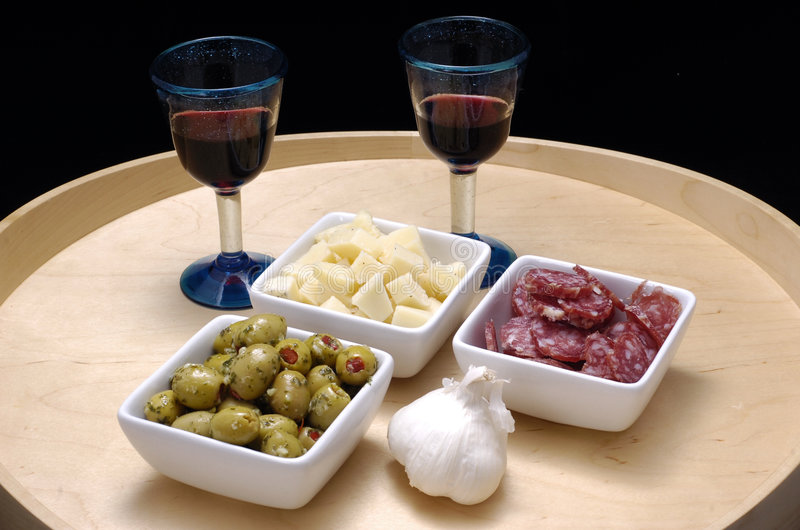 Tapas and red wine royalty free stock photos