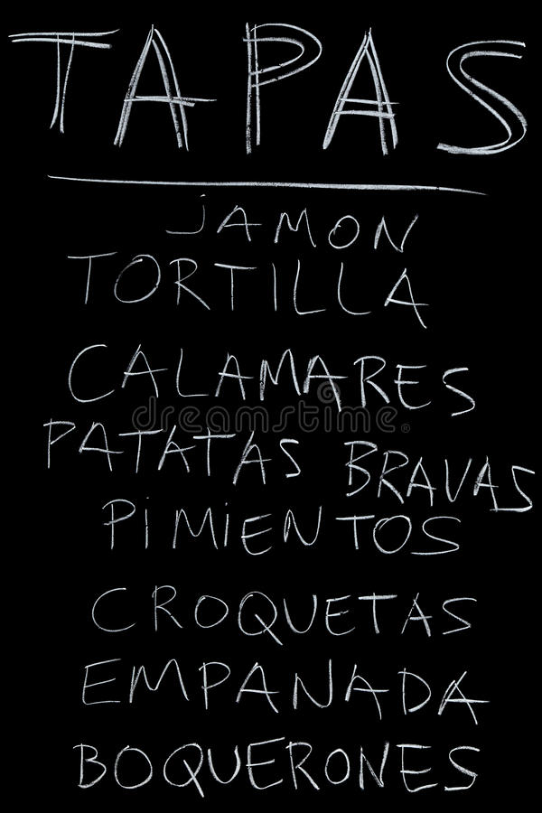 Tapas. Typical Tapas dishes on sale royalty free stock photos