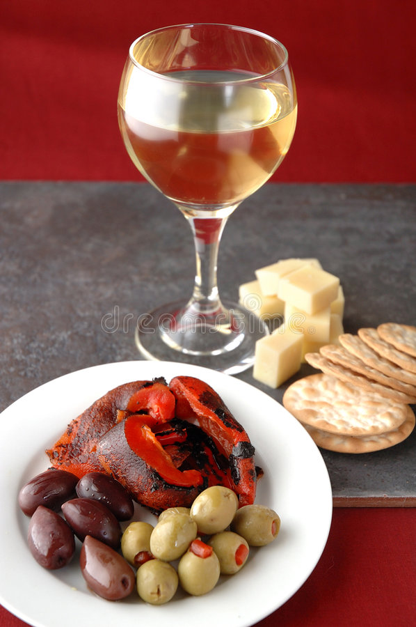 Tapas and wine royalty free stock image