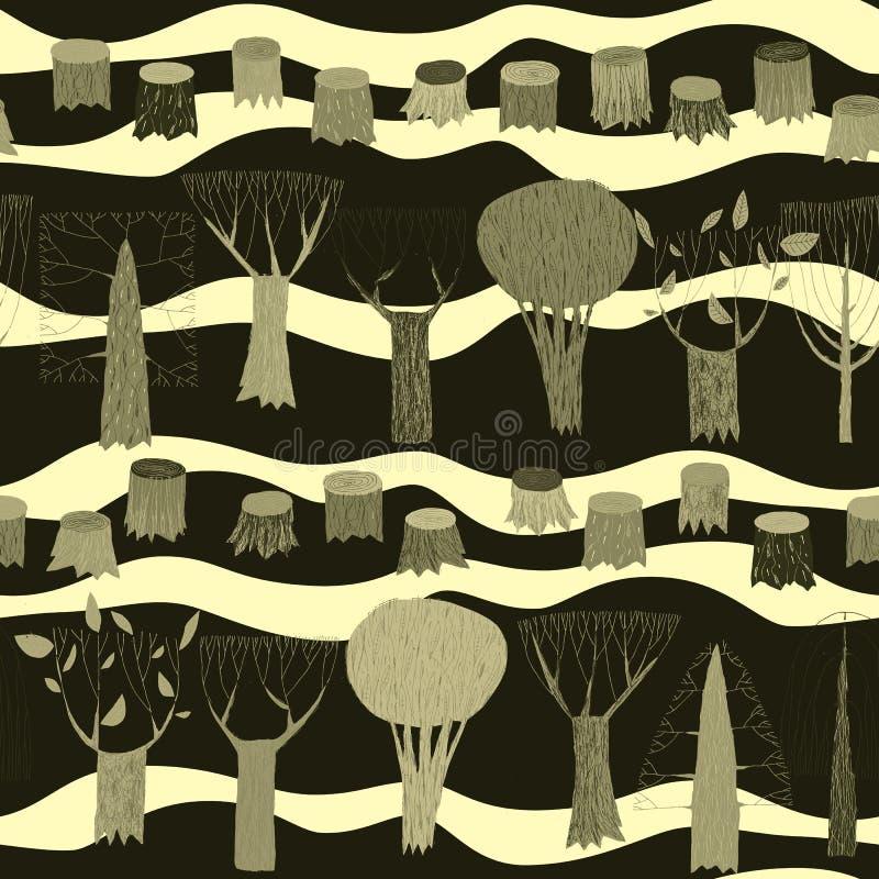 Tapeçaria sem emenda do teste padrão das árvores no cinza ilustração do vetor