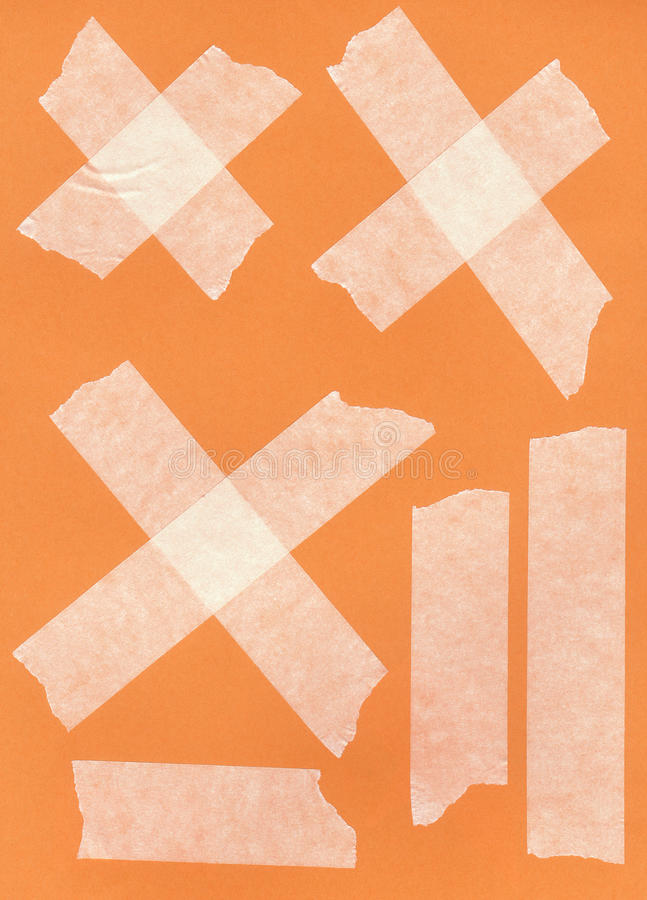 Tape. Pieces of duct tape in varying sizes, shapes, and orientations are shown here against a white background for easy removal and use vector illustration