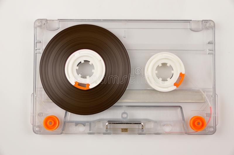Tape audio cassette. Audio cassette with color label isolated on white stock images
