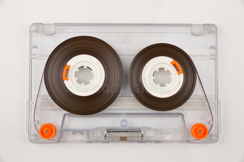 Tape audio cassette. Audio cassette with color label isolated on white stock photo