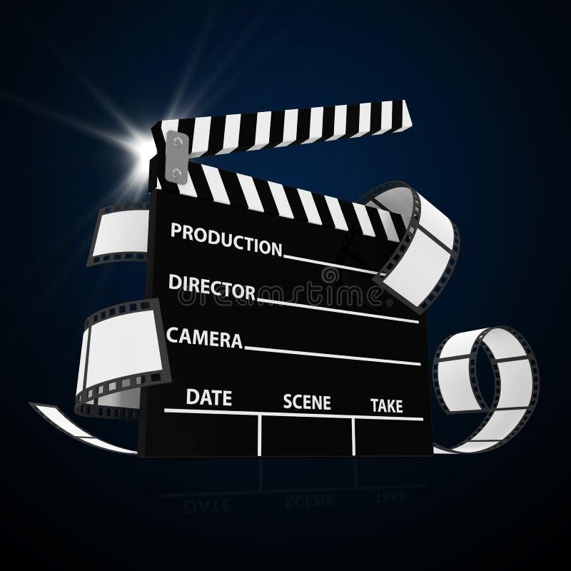 Tape de cinéma avec la bande et le projecteur de film illustration stock