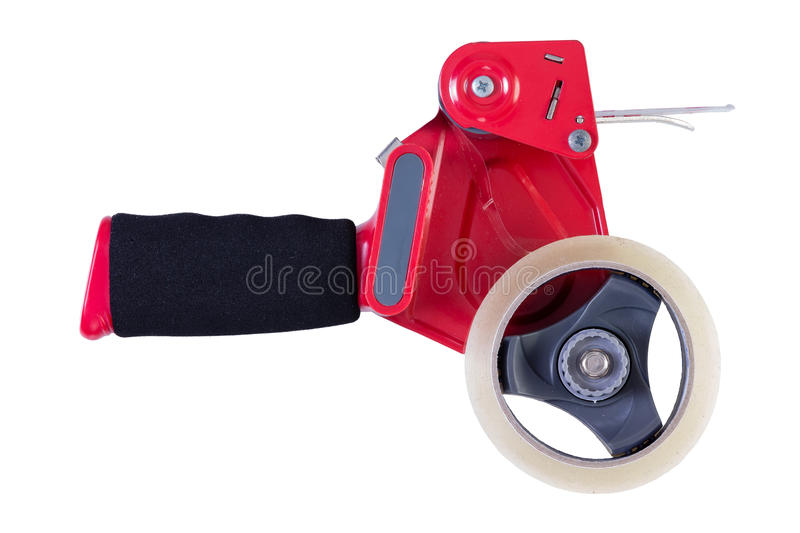Tape dispenser over white background royalty free stock photo