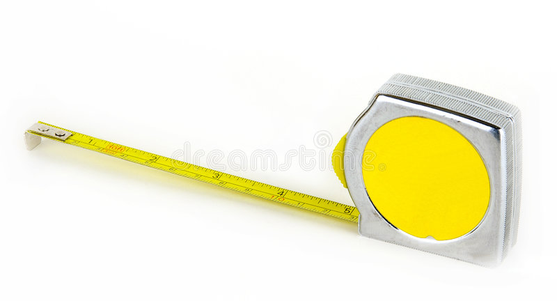 Tape measure. For measurement are long. It is frequently used in construction stock photo