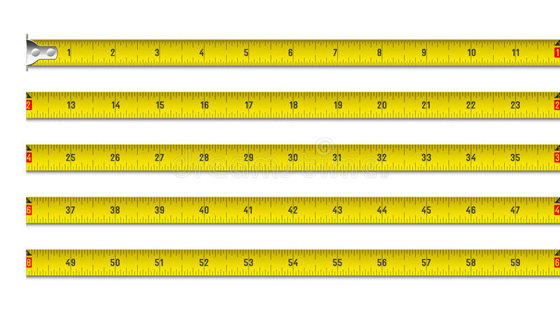 Tape measure in inches vector illustration
