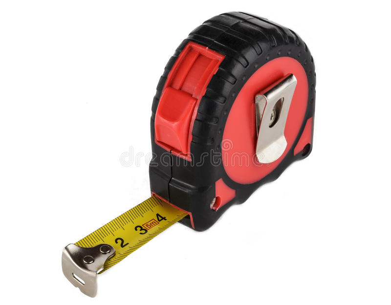 Tape measure isolated on white background. Red tape measure isolated on white background royalty free stock images