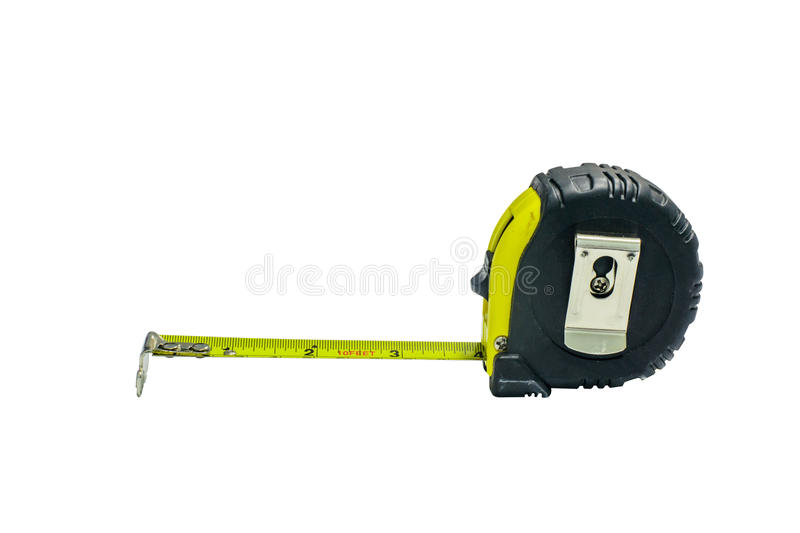 Tape measure on white background stock images