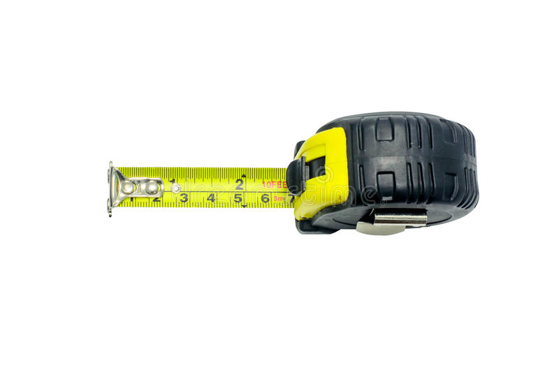 Tape measure on white background stock photography